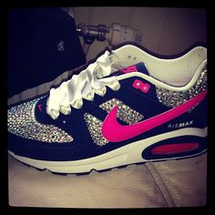 Omg I want these!!! Blinged out Nike Air's<3<3<3