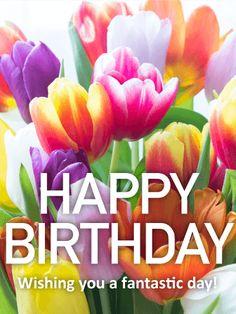 Pretty Tulip Happy Birthday Card