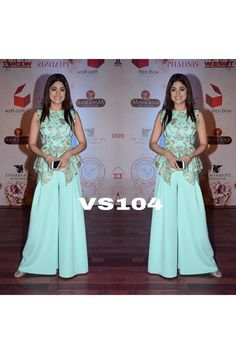 Bollywood Replica - Shamita Shetty In Sky Blue Stitched Palazzo With Top - Plazzo Pants, Choli Dress, Fancy Tops, Designer Salwar Suits, Eid Collection, Online Collections, Prom Dresses, Formal Dresses, Celebs