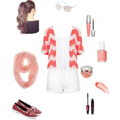 Coral and Chevron by sej9680 on Polyvore featuring polyvore fashion style New Look maurices Topshop Twisted Charlotte Russe Lancôme Christian Dior NARS Cosmetics Essie
