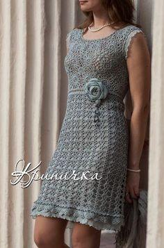 crochelinhasagulhas: Vestido cinza de crochê
