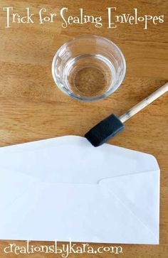 Seal a bunch of envelopes with water and a foam brush. | 21 Clever Tricks To Make Any Wedding So Much Easier