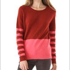 Color block Rabbit/Wool Madewell Sweater Madewell Colorblock red/coral sweater. Wool and Rabbit Hair. Never worn. Madewell Sweaters