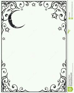 Beautiful moon and stars filigree frame for a grimoire page Colouring Pages, Adult Coloring Pages, Coloring Books, Page Frames, Wiccan, Witchcraft, Magick, Borders And Frames, Vinyl Projects