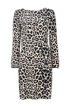 Black Animal Print Split Sleeve Dress
