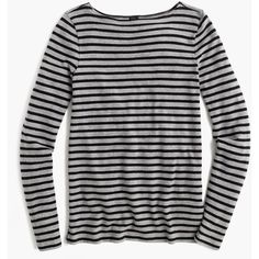 J.Crew Striped Boatneck Tunic ($71) ❤ liked on Polyvore featuring tops, tunics, j crew top, boat neck striped top, striped boatneck top, long sleeve cotton tops and cotton tunic