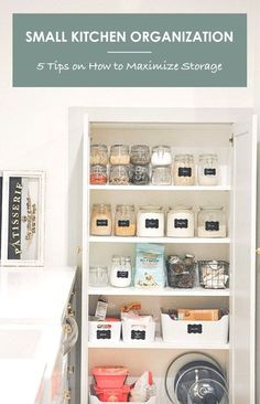 Small Kitchen Organization: 5 Tips on How to Maximize Storage And Keep Things Organized - hydrangea treehouse Small Kitchen Organization, Home Office Organization, Organizing Your Home, Kitchen Storage, Kitchen Decor, Organized Kitchen, Organization Ideas, Kitchen Ideas, Pantry Inspiration