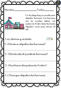 Actividades de comprensión lectora - Imagenes Educativas Spanish Class, Grade 1, Speech Therapy, Back To School, Homeschool, Student, Physical Therapy, Spanish, Reading