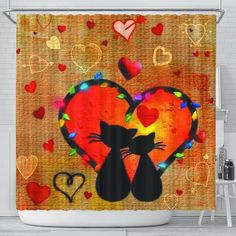 Cats in love Shower Curtain - Cats in love Shower Curtain Cat Lover Gifts, Cat Lovers, Valentine Day Love, Valentines, Dark Art Drawings, Digital Art Girl, Cat Life, Bellisima, Baby Quilts