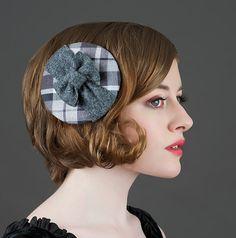 Grey Plaid Button Hat  Grey Fascinator  Plaid by BoringSidney, $45.00