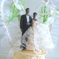 Vintage Wedding Cake Topper African American Black bride and groom. via Etsy.