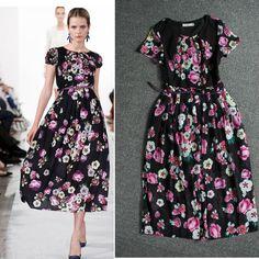 Summer 2014 Charming Short Sleeve Flower Printed Silk Long Dress  140623T01 $72.30