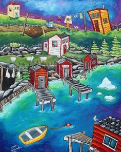 By Grumpy Goat Gallery. While Uncle Jack was Jigging, Aunt Mary Baked a Pie, Old Tom Cat Watched the Caplin Roll and Agnes Hung the Line Painting Lessons, Artist Painting, House Painting, Hut House, Uncle Jack, Cat Watch, House On The Rock, Newfoundland And Labrador, Kids Artwork
