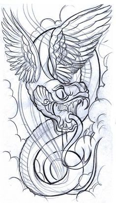 Flying Snake Tattoos Design Rate This Tattoo Tattoo Design Tattoo Sketches, Tattoo Drawings, Japanese Snake Tattoo, Mermaid Tattoos, Best Tattoo Designs, Neo Traditional Tattoo, Cat Tattoo, Tattoo Art, Tattoo Models