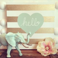 Gold Stripe Hello Heart 12x12 Canvas in Sea Foam Mint color By  House of Creative Designs available at HOCDesignsMarket at Etsy