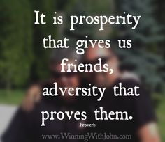 It is prosperity that gives us friends, adversity that proves them. Proverb  #friends