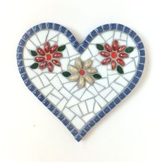 White mosaic Heart, Heart in Bloom in blue and white, Heart Art