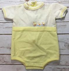 Vtg 1970s Yellow Acrylic Sweater Knit One Piece Short Romper Ducks Unisex Baby | eBay