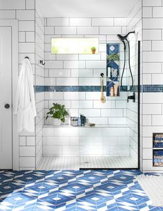 Dress up your bathroom with one of these inspiring shower tile designs. A variety of materials, colors, shapes, and layouts create unique shower tile ideas for a one-of-a-kind bathroom. #bathroomideas #bathroomtile #bathroomshowertiles #bhg Diy Bathroom Remodel, Shower Remodel, Bathroom Interior, Bathroom Renovations, House Remodeling, Master Bathroom Shower, Cozy Bathroom, Simple Bathroom, Bathtub In Shower
