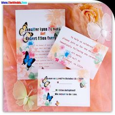 butterlfy coral wedding invitations