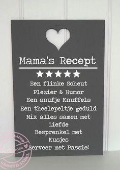 H162 Teksbord Mama's Recept 59 x 39 cm