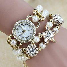 Elegant Pearl Beads Bracelet Ladies Watch Fashion Rhinestones Case Women Analog Quartz Watch at Banggood