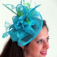 Turquoise fascinator - mesh  blue  fascinator hat, feather fascinator, wedding hat  STAVVY FRESH