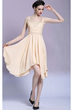 Champagne Sleeveless Scoop Tea Length Bridesmaid Dress 2014 L083