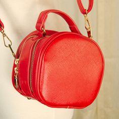 """Don't let its small size fool you, this little bag is roomy! "" http://shop.catslikeus.com/products/comeco-inc-red-round-zipper-handbag?utm_content=buffer2d7f5&utm_medium=social&utm_source=pinterest.com&utm_campaign=buffer #vintage #retro"