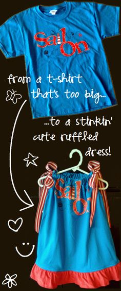how to turn a kid's t-shirt into a cute pillowcase-style ruffle dress - I'm thinking tie die some plain old white t-shirts and recycling into gifts for the girls by addie Diy Clothing, Sewing Clothes, Sewing For Kids, Diy For Kids, Diy Dress, Ruffle Dress, Ruffle Shirt, Ruffles, Diy Vetement
