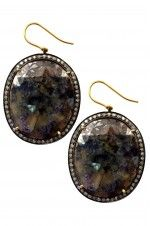 Tribebyamrapali-14K Gold Silver Diamond Sapphire Oval Earrings