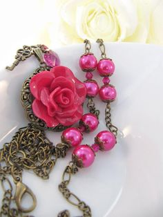 Fuchsia flower necklace crystals heart long by romanticcrafts, $19.00