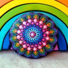 Rainbow mandala stone @mandalasbyrainbowsoul