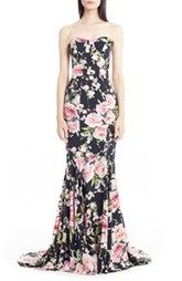 Dolce&Gabbana Floral Print Strapless Charmeuse Gown