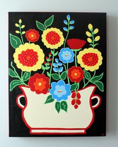 folk art: PaintBackground, vase and leaves fabric flowers.