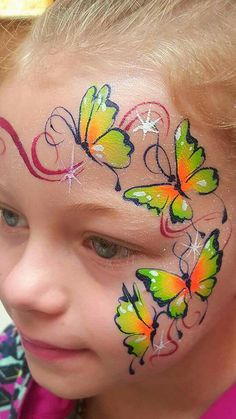 Schmetterlingsparty - New Sites Girl Face Painting, Belly Painting, Face Painting Designs, Painting For Kids, Paint Designs, Painting Tutorials, Makeup Tutorials, Painting Techniques, Butterfly Face Paint