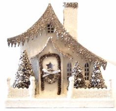 Beautiful KD Vintage Designer Putz Style White House Sparkling Mica Glitter ~ love the roof line!