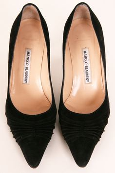 A classic black manolo in suede with a manageable kitten heel