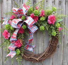 Wreath, Spring / Summer - Spring / Summer Door Wreath, Pink Zinnia, Green Ball, Coral, Pink Decor, Mother's Day Gift, Blue and Pink by HornsHandmade on Etsy https://www.etsy.com/listing/227060526/wreath-spring-summer-spring-summer-door
