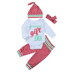 PUDCOCO 2017 Christmas Baby Girls Romper Jumpsuit Pants Infant Headband Hat 4pcs Clothes Outfits Xmas Greatest Gift Ever Print #ChristmasOutfit