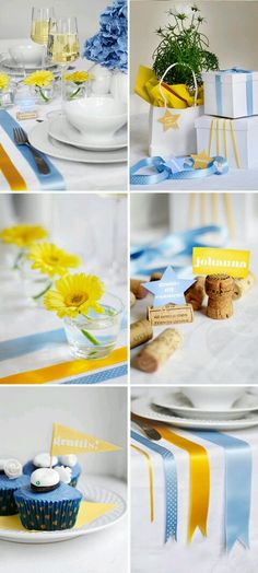 Love the idea with cork nametags. Gotta steal that one! And I love the colour combination Yellow + Blue Ballon Decorations, Table Decorations, Decorating Tables, Wedding Themes, Wedding Decorations, Graduation Day, Grad Parties, Flower Centerpieces, Holidays And Events