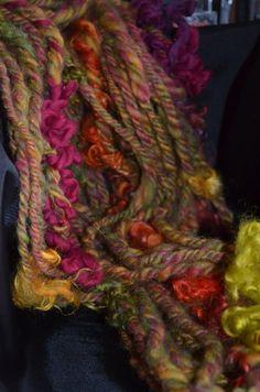 Handspun art yarn Navajo 3 ply Handspun yarn knitting by pamsfiber, $38.00