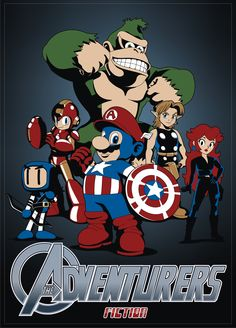 The Adventurers: Mario, Peach, Link, Donkey Kong, Bomberman, Megaman.