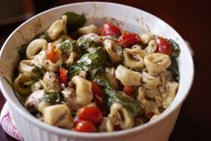balsamic & basil chicken tortellini....soo yum! Can be served as a cold pasta salad or warm pasta dish. Simple and so gourmet tasting!