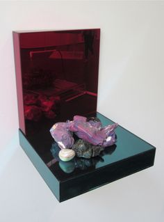 "Ajay Kurian ""Spiegel Leben 2, 2013"" epoxy clay, broken and polished gobstoppers, polished stones, vitrified slag from municipal waste, plexiglass"