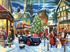 """Christmas Streets is a 1000 piece jigsaw puzzle from SunsOut. Featuring artwork by Kevin Walsh. Puzzle measures 20 x 27"""" when complete. SunsOut puzzles are 100% Made in the USA Eco-friendly soy-based"""