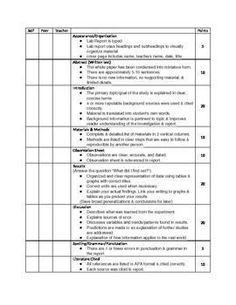 lab report rubric middle school
