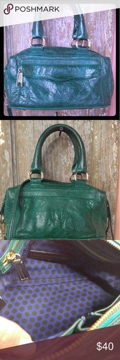 "Rebecca Minkoff green leather mini purse crossbody Small leather purse in a beautiful deep green. Outside envelope zip pocket, one inside zip pocket, three other pockets. Measures 10"" wide and 6.5"" tall. Includes Crossbody strap. Rebecca Minkoff Bags Mini Bags"