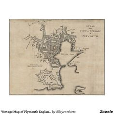 Vintage Map of Plymouth England (1765) Poster