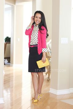 pink sweater, polka dot shirt, navy skirt- don't really like the yellow shoes with this outfit but the pink is cute